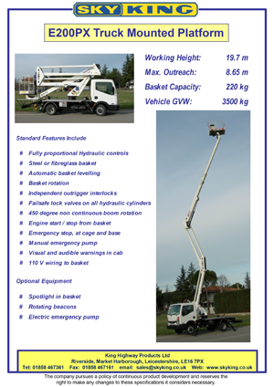 Cherry picker hire of mewp and cherry pickers dam high access nifty 170 specification sheet skyking e200px specification sheet sciox Gallery